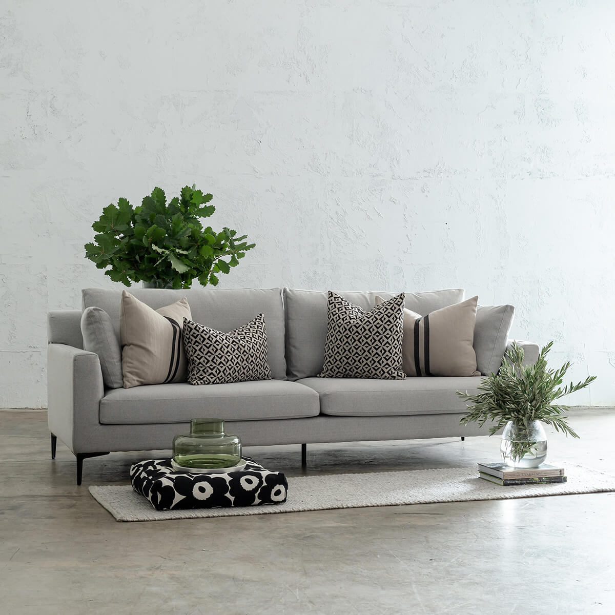 LUGANO 3.5 SEATER SOFA  |  COBBLESTONE ASH WEAVE  |  LOUNGE FURNITURE