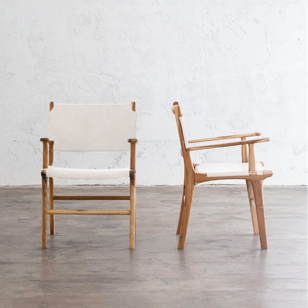MALAND LEATHER HIDE CARVER CHAIR | WHITE LEATHER HIDE