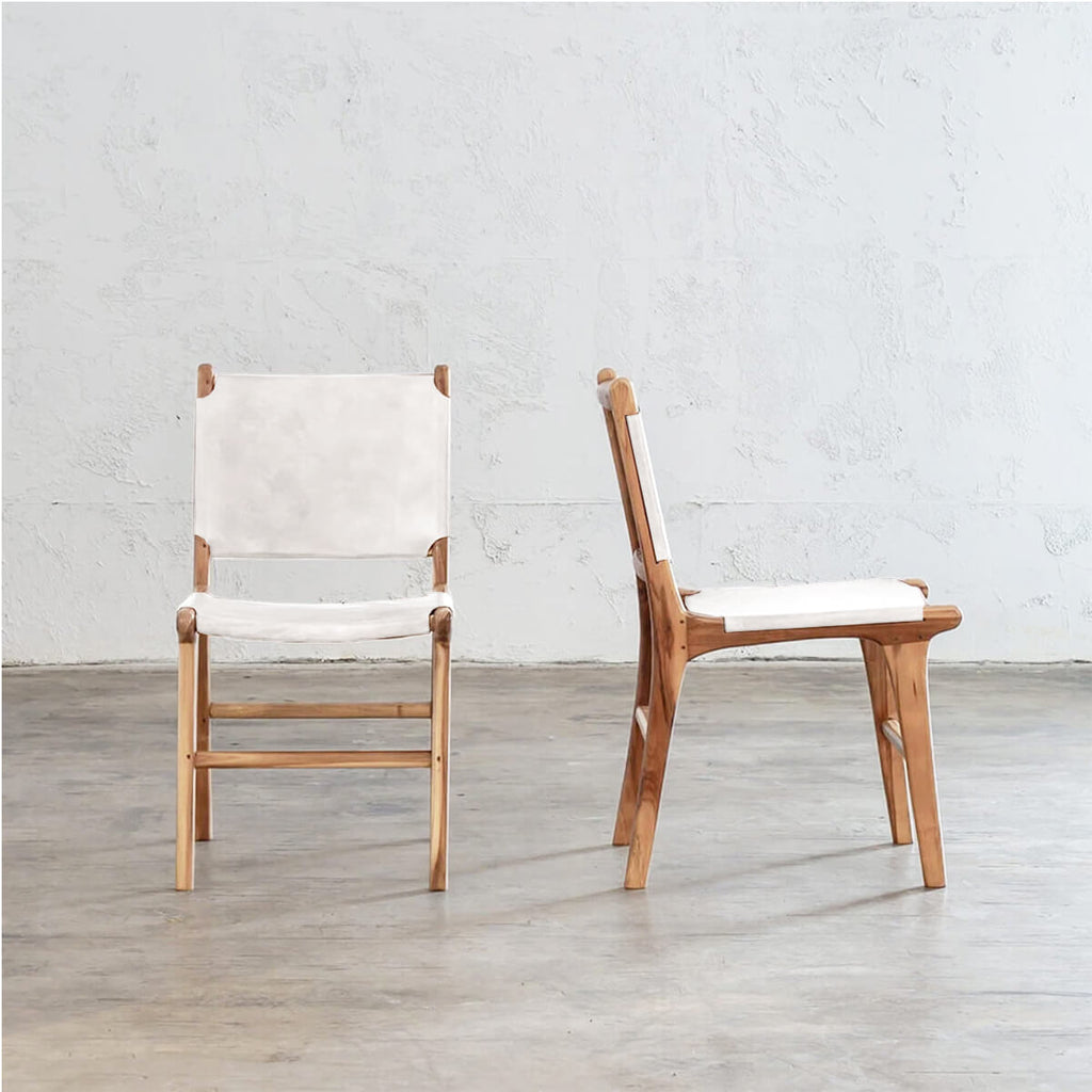 MALAND LEATHER HIDE DINING CHAIR  |  WHITE LEATHER HIDE |  SAFARI INSPIRED LEATHER