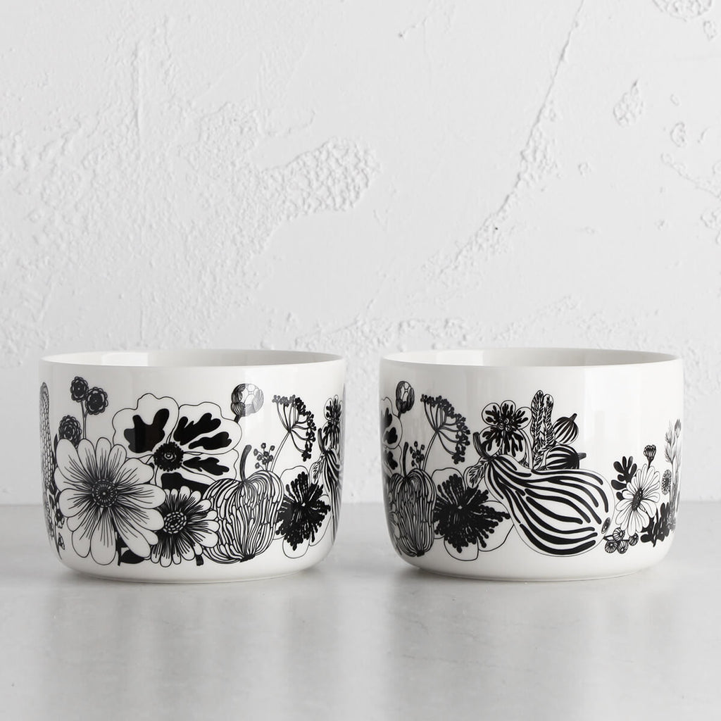 MARIMEKKO | OIVA SIIRTOLAPUUTARHA SERVING DISH 3.4L | BLACK + WHITE BOWL | SET OF 2