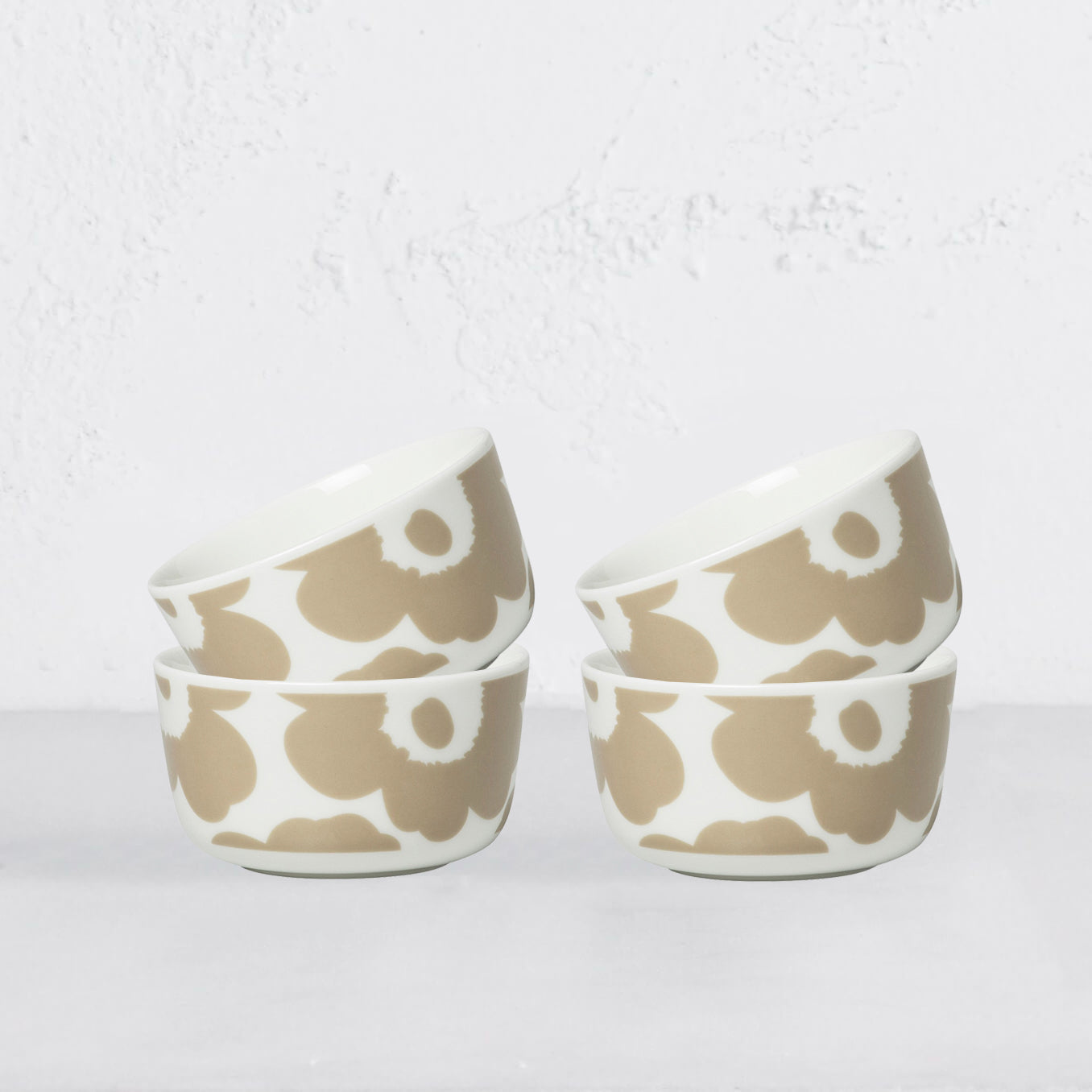 MARIMEKKO  |  UNIKKO BOWL 2.5DL  |  BEIGE & WHITE  SET OF 4