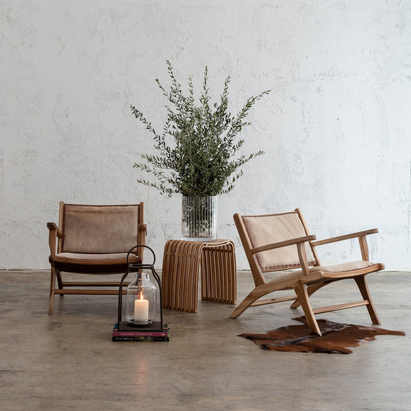 MALA ARM CHAIR  |  SALT & PEPPER BROWN LEATHER HIDE