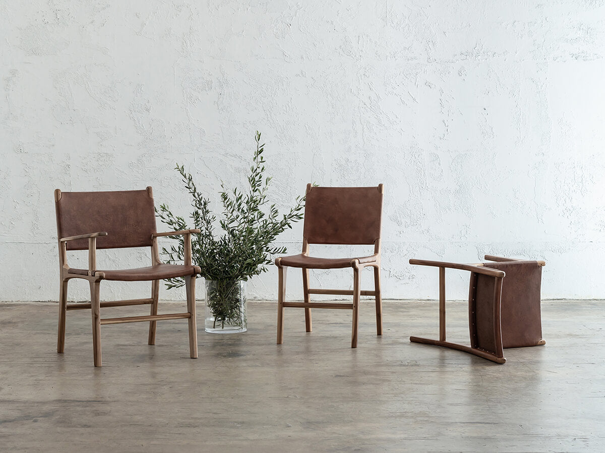 MALAND LEATHER HIDE DINING CHAIR  |  COGNAC LEATHER HIDE