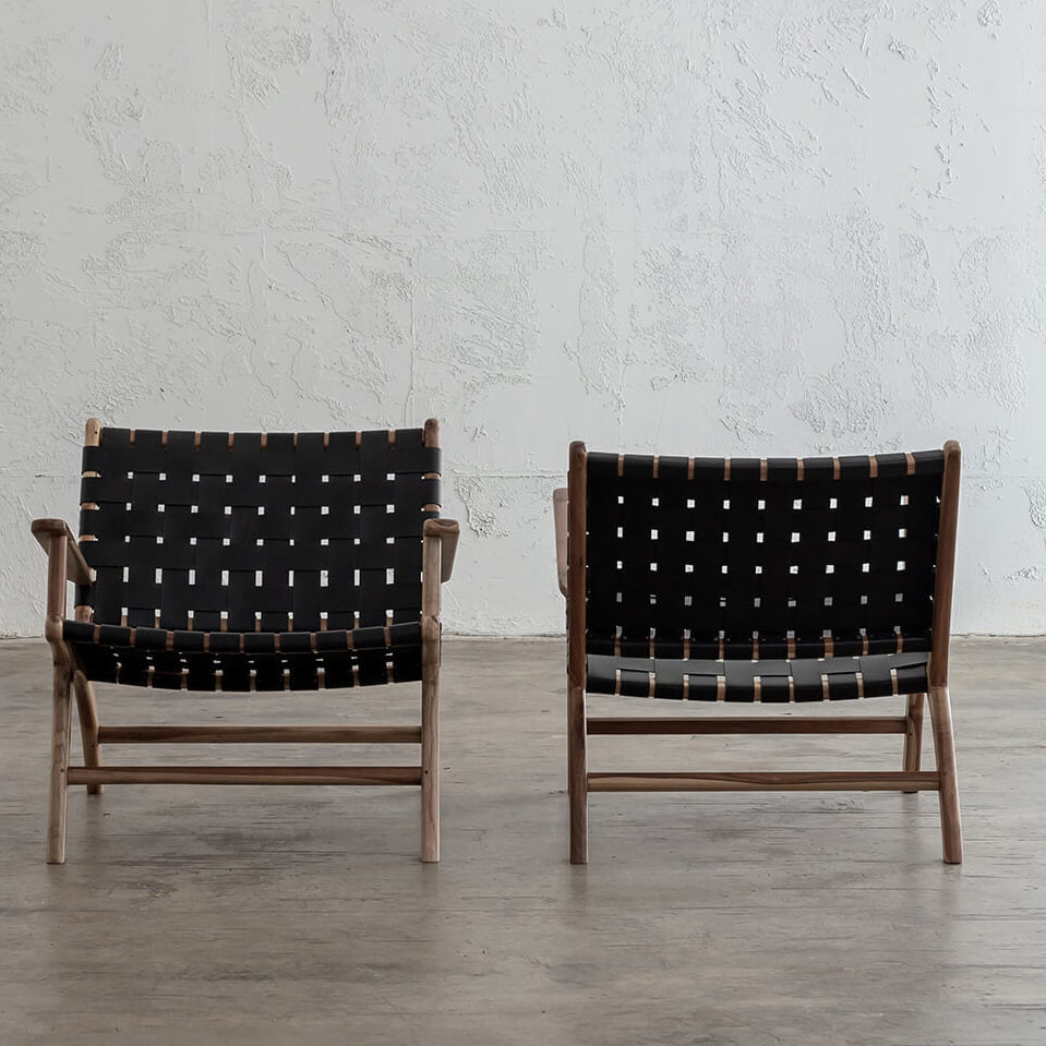 MALAND WOVEN LEATHER ARM CHAIR  |  BLACK LEATHER HIDE