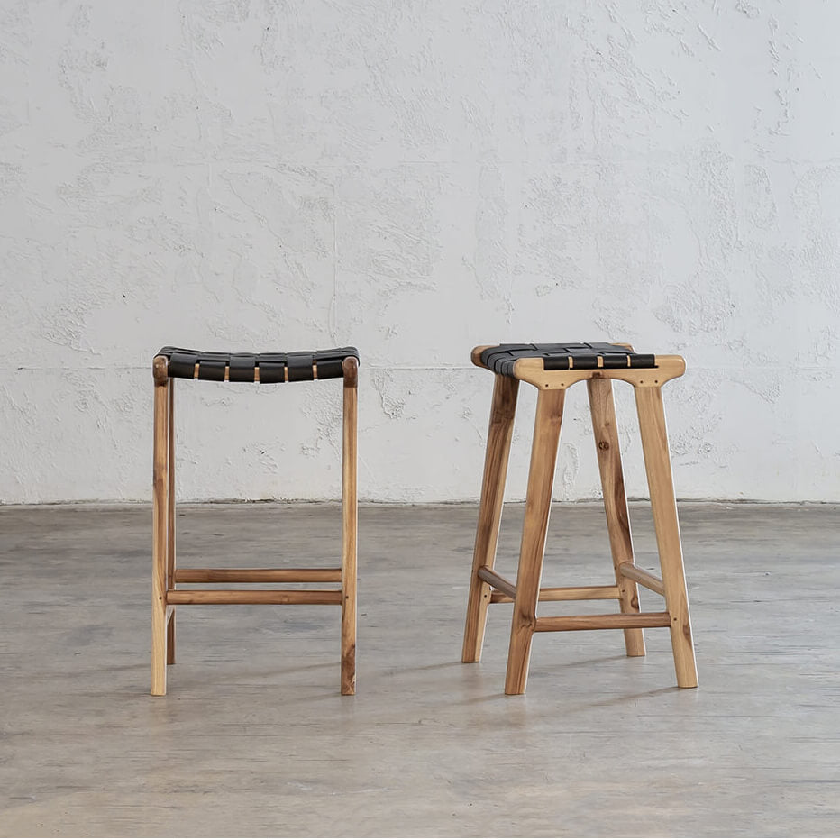 PRE ORDER | MALAND WOVEN LEATHER BAR STOOL  |  BLACK LEATHER HIDE