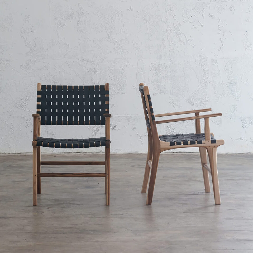 MALAND WOVEN LEATHER CARVER CHAIR  |  BLACK LEATHER HIDE