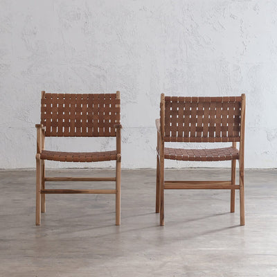 MALAND WOVEN LEATHER CARVER CHAIR  |  TAN LEATHER HIDE