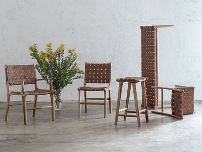 MALAND WOVEN LEATHER DINING CHAIR  |  TAN LEATHER  SAFARI RANGE