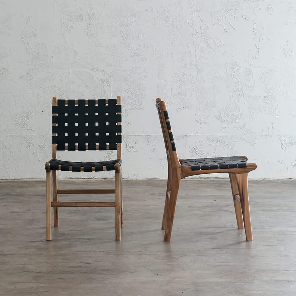 PRE ORDER  |  MALAND WOVEN LEATHER DINING CHAIR  |  BLACK LEATHER HIDE