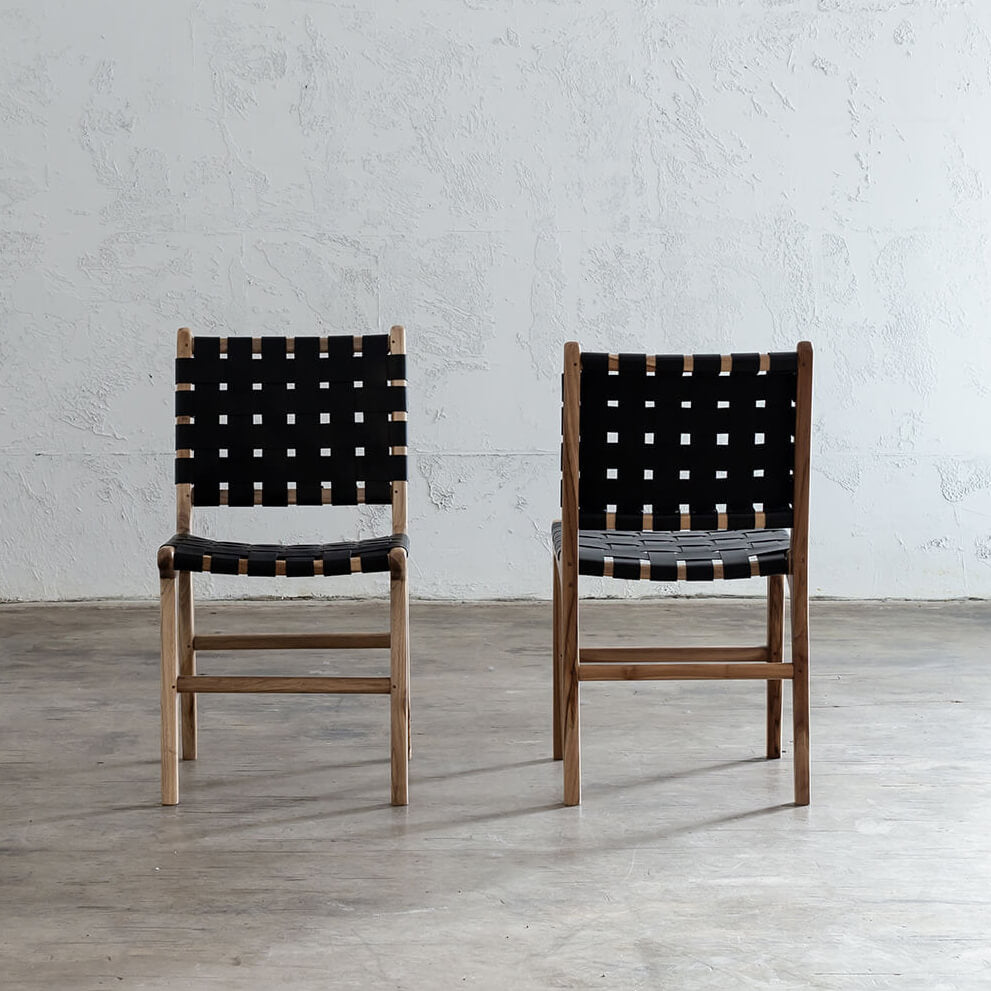 MALAND WOVEN LEATHER DINING CHAIR  |  BLACK LEATHER HIDE
