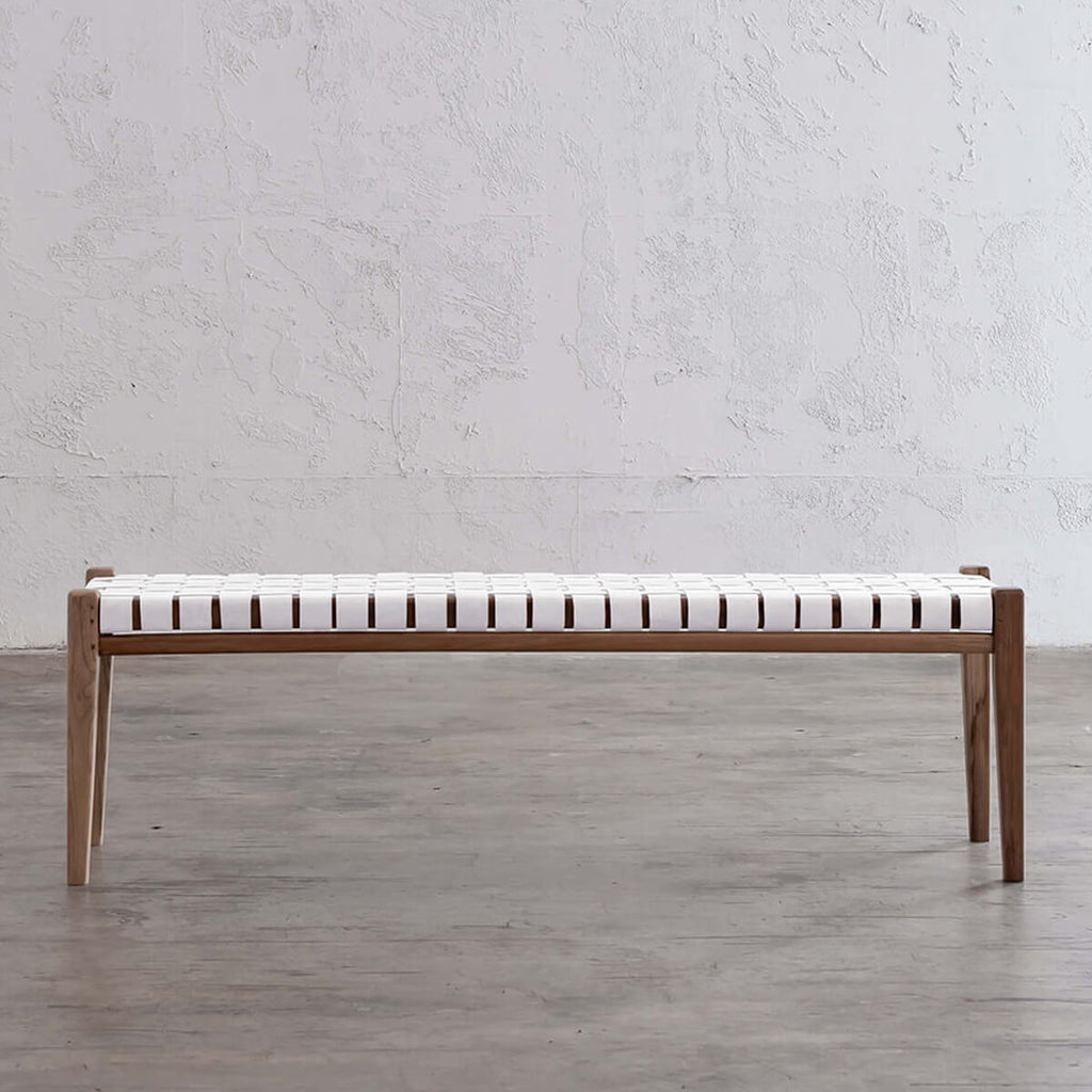 MALAND WOVEN LEATHER BENCH OTTOMAN  |  WHITE LEATHER SAFARI RANGE