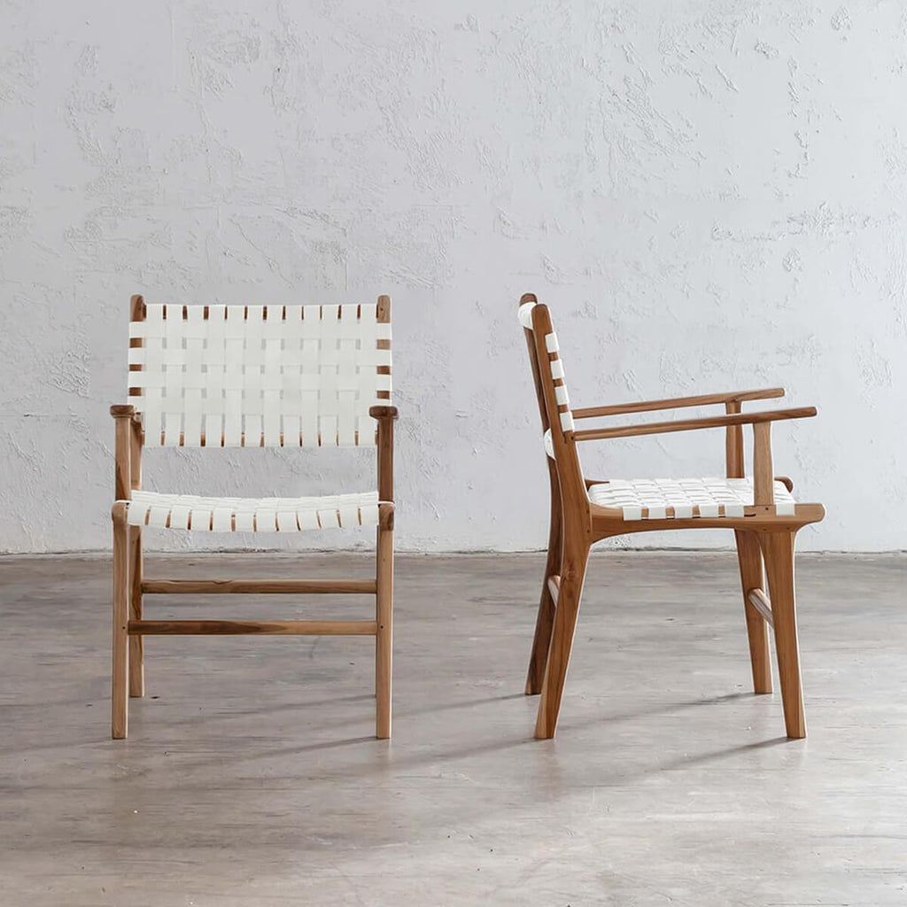 MALAND WOVEN LEATHER CARVER CHAIR  |  WHITE LEATHER  SAFARI RANGE