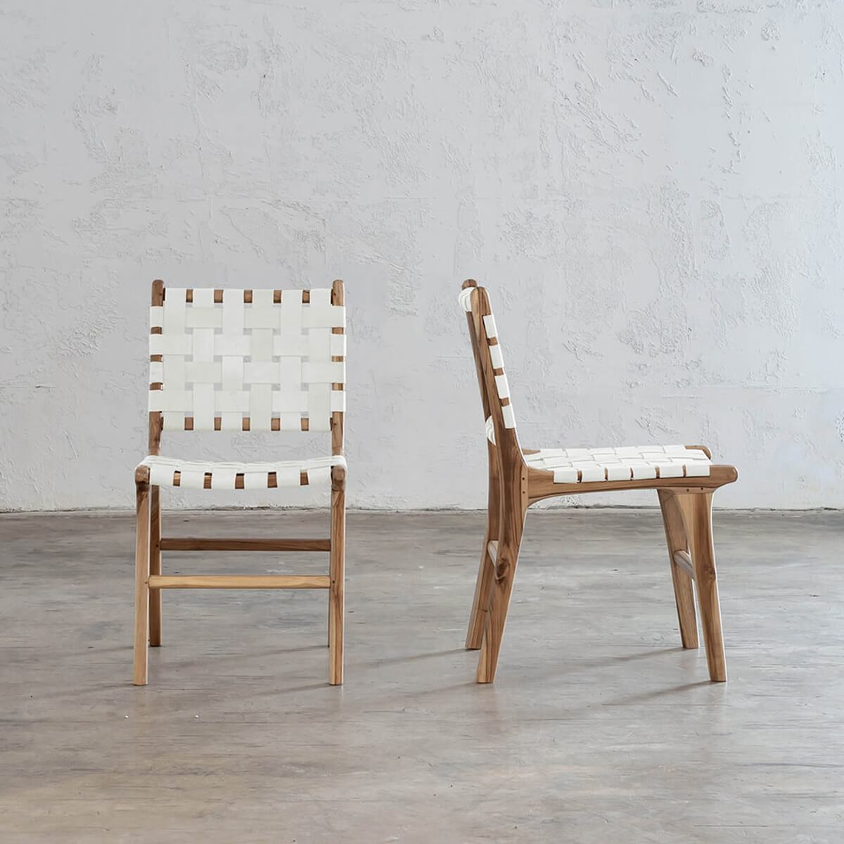 Maland Woven Leather Dining Chair White Leather Hide