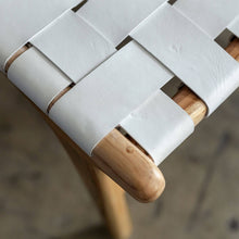 MALAND WOVEN LEATHER ARM CHAIR | WHITE LEATHER HIDE