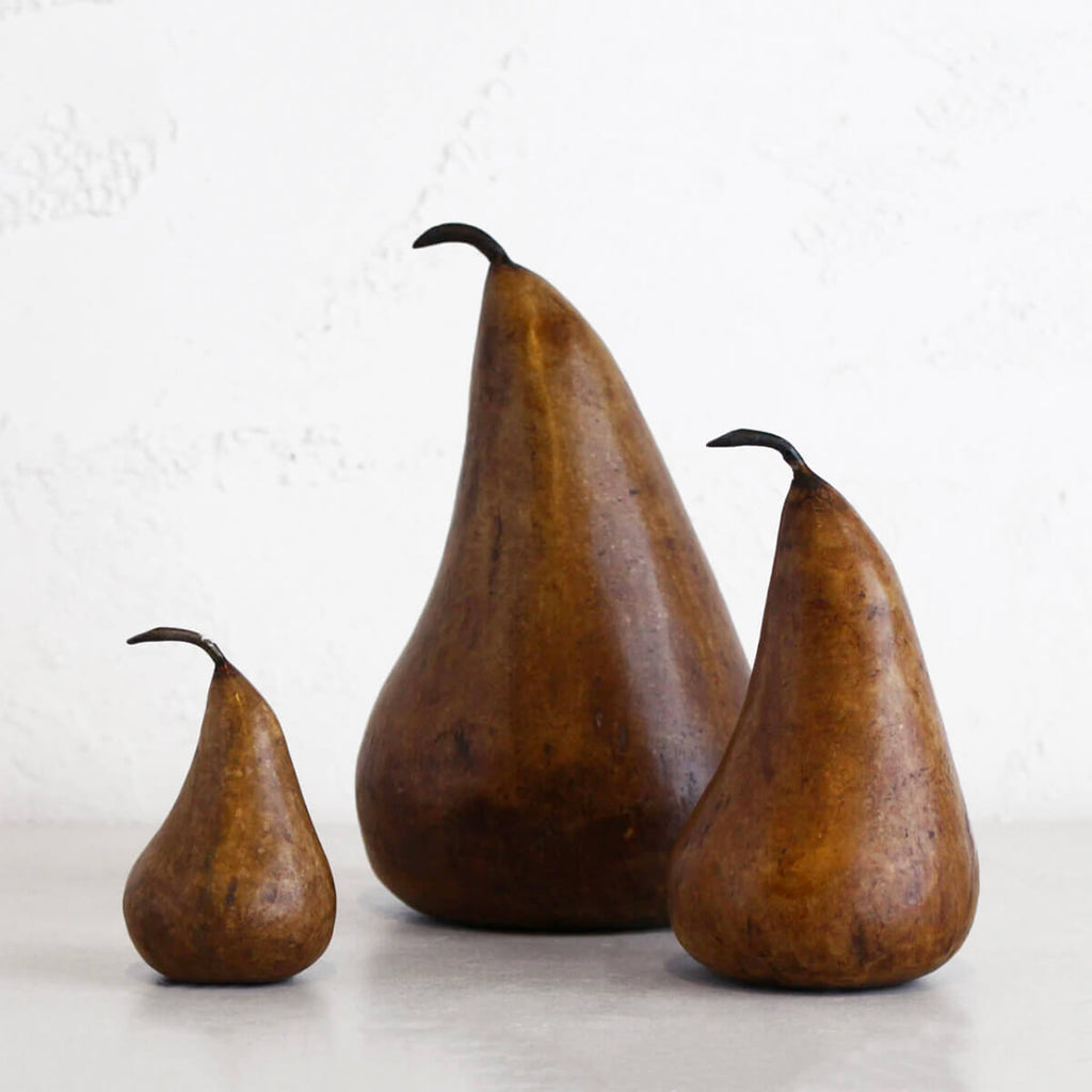 MARBLE PEARS  |  CLASSIC DECORATION ITEMS  TRIO OF 3 PEARS