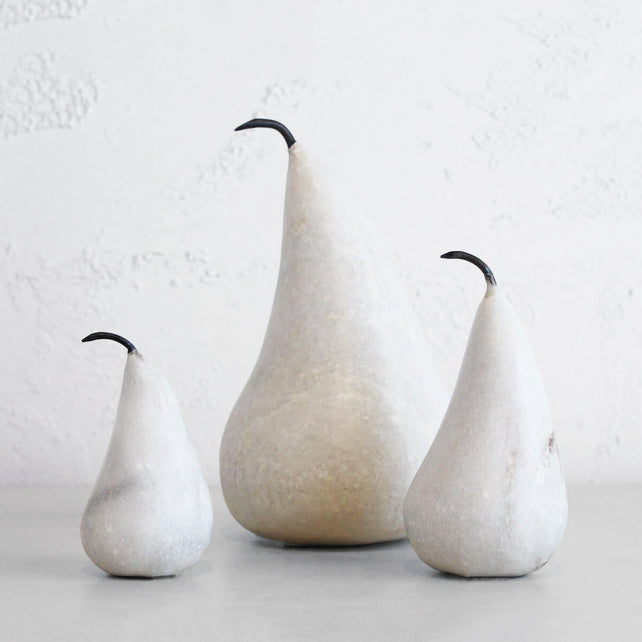MARBLE PEAR  |  WHITE MARBLE  |  SET OF 3  |  BEAUTIFUL HOMEWARES + DECORATION