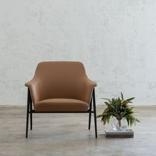 MARCUS ARM CHAIR  |  SADDLET TAN VEGAN LEATHER  |  MODERN OCCASIONAL CHAIR  | LOUNGE CHAIR