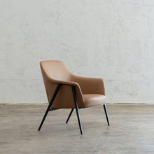 MARCUS ARM CHAIR  |  SADDLET TAN VEGAN LEATHER  |  MODERN OCCASIONAL CHAIR  | LOUNGE CHAIR ANGLE VIEW