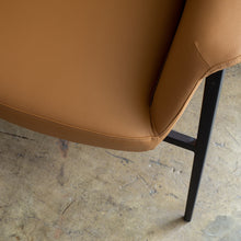 MARCUS ARM CHAIR  |  SADDLET TAN VEGAN LEATHER  |  MODERN OCCASIONAL CHAIR  | LOUNGE CHAIR CLOSE UP