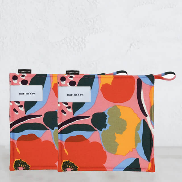 MARIMEKKO  |  ROSARIUM POT HOLDER BUNDLE  |  ORANGE + PINK + BLUE  |  OVEN MITT