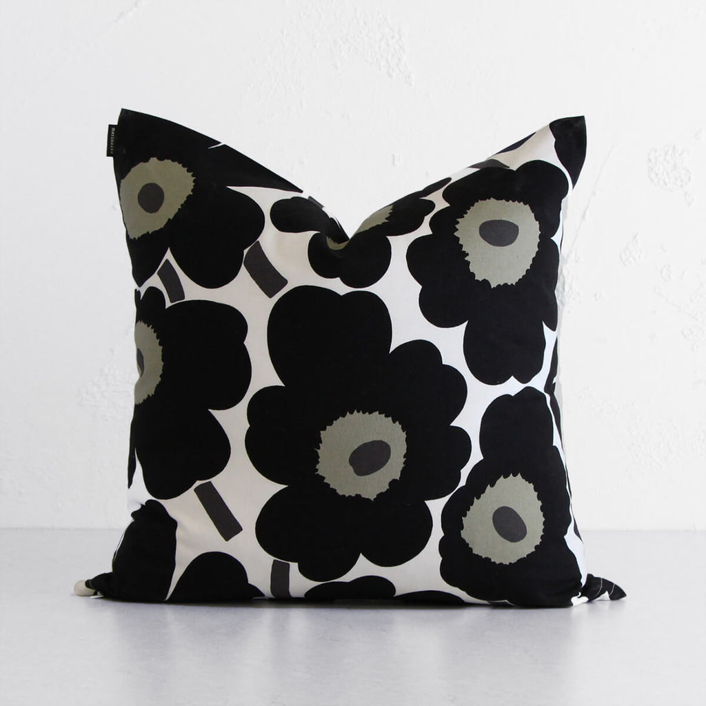 MARIMEKKO  |  PIENI UNIKKO CUSHION  |  BLACK + OLIVE + WHITE
