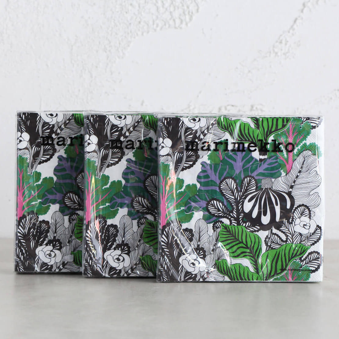 MARIMEKKO | KAALIMETSA GREEN LUNCH NAPKIN | PAPER SERVIETTES BUNDLE OF 3