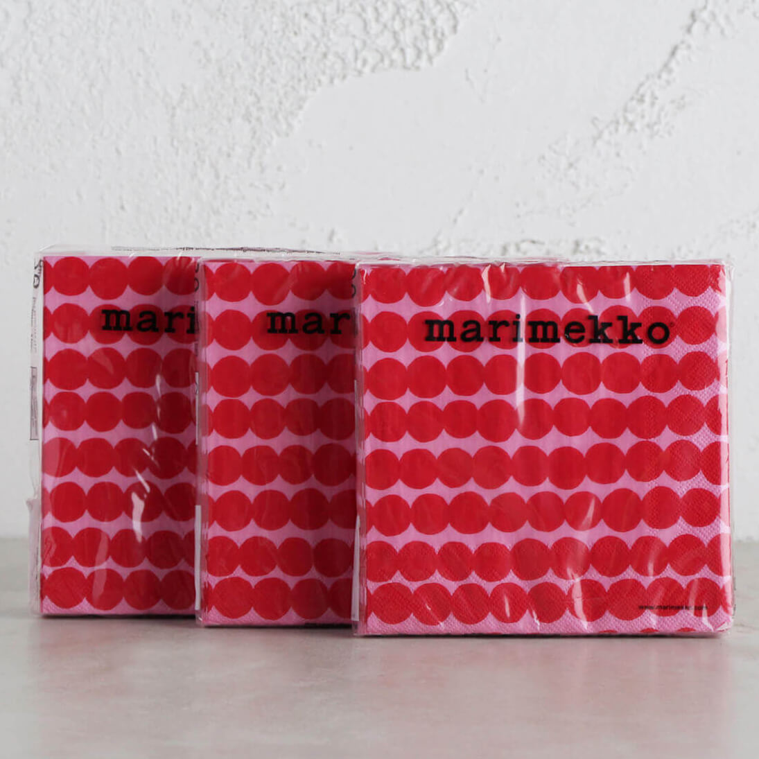 MARIMEKKO  |  RASYMATTO ROSE PINK PAPER NAPKINS |  LUNCH SERVIETTES BUNDLE OF 3