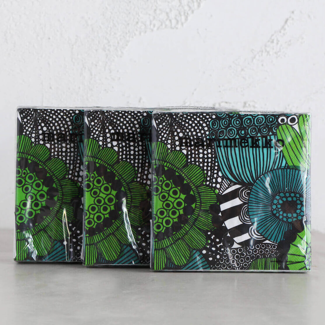 MARIMEKKO  |  SIIRTOLAPUUTARHA PAPER NAPKINS  |  GREEN BLACK  |  LUNCH SERVIETTES BUNDLE OF 3