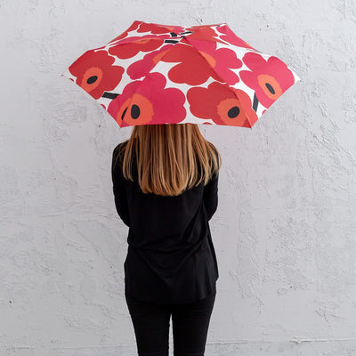 MARIMEKKO | PIENI UNIKKO MINI MANUAL UMBRELLA | WHITE RED + BLACK