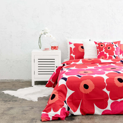 MARIMEKKO UNIKKO CUSHION  |  50 x 50 |  RED PINK POPPY FLOWER