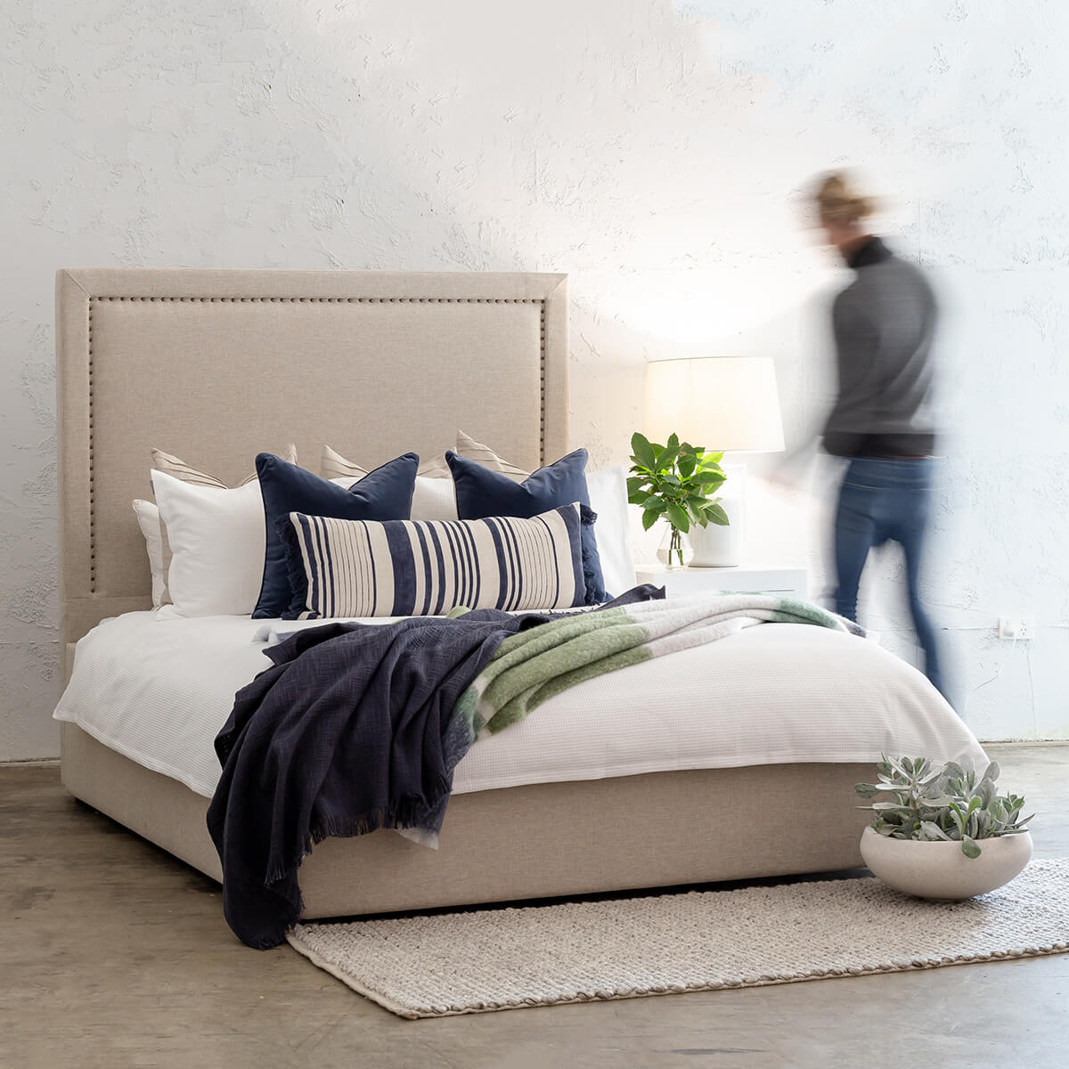 Marle Bed With Studded Square Frame Natural Linen King Size