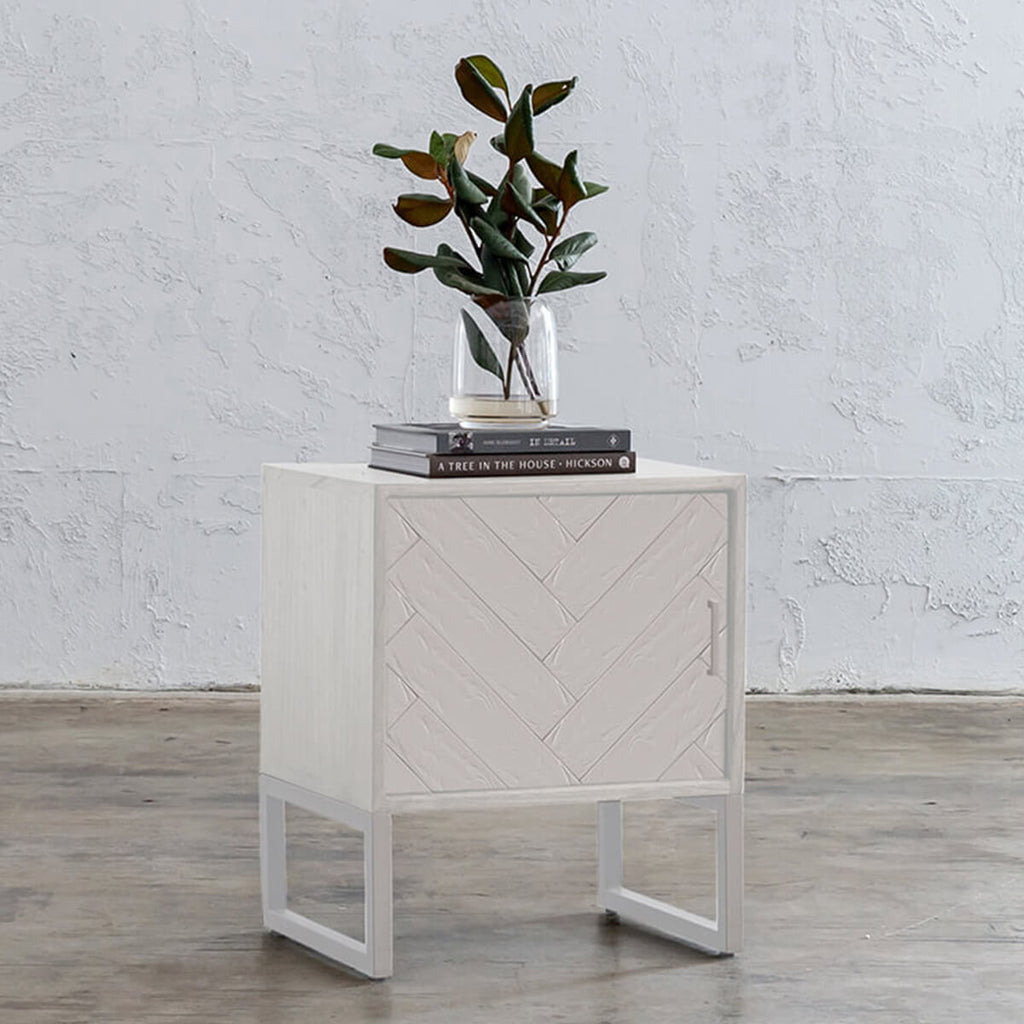MAXIM PARQUETRY HERRINGBONE BEDSIDE TABLES | WHITE | LEFT HAND SIDE