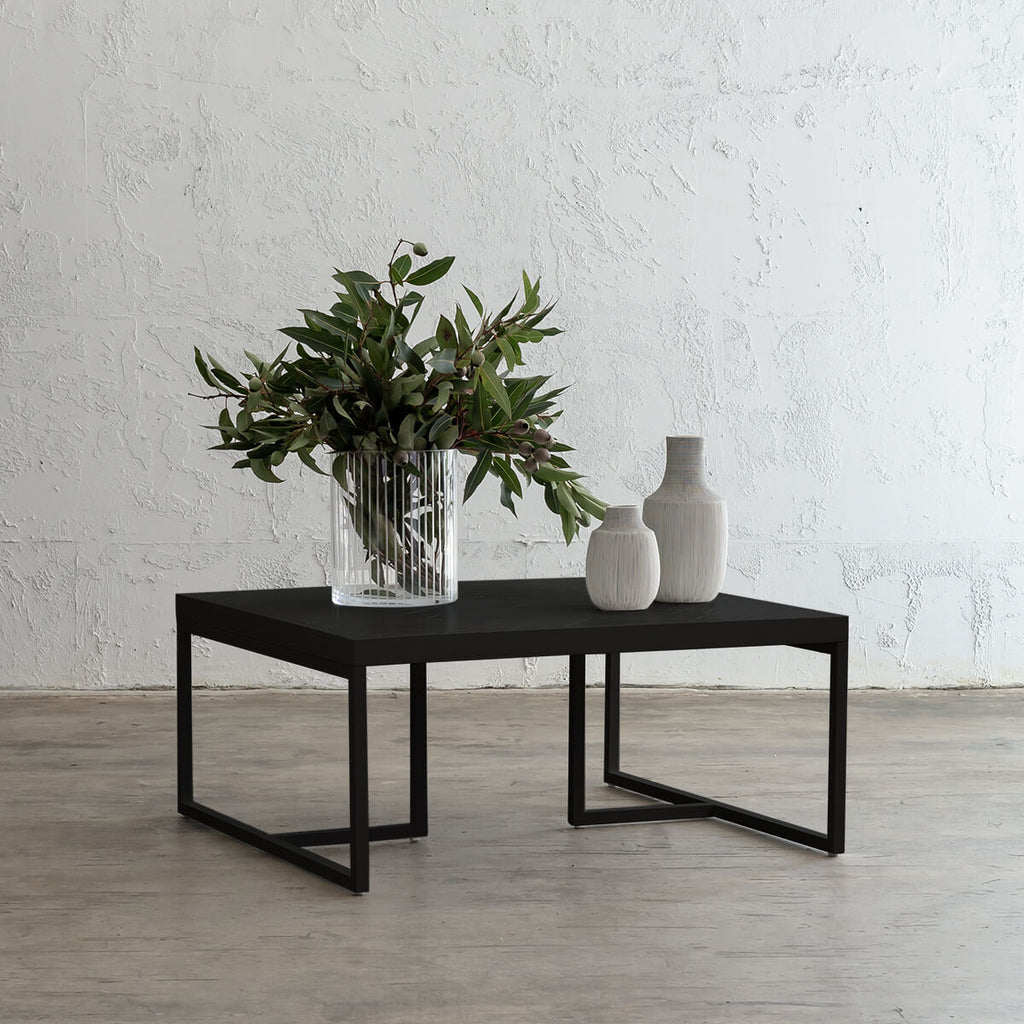 MAXIM PARQUETRY HERRINGBONE COFFEE TABLE | SQUARE | BLACK