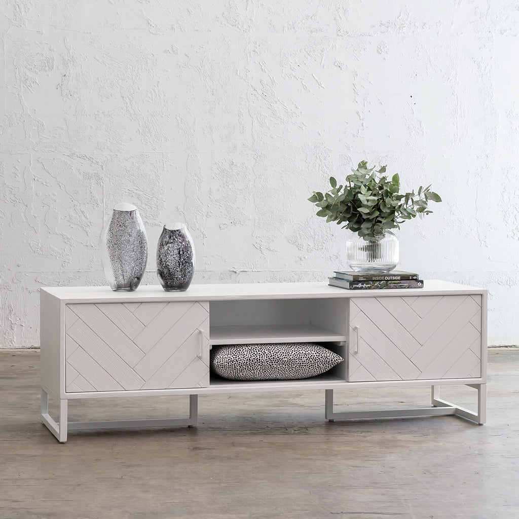 PRE ORDER | MAXIM PARQUETRY HERRINGBONE ENTERTAINMENT UNIT  |  WHITE