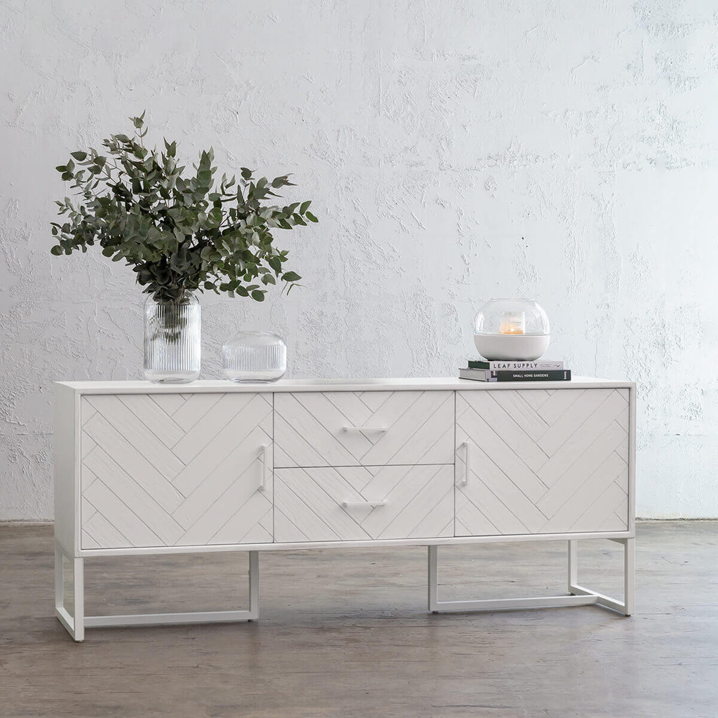 MAXIM PARQUETRY HERRINGBONE SIDEBOARD CONSOLE | WHITE