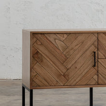 PRE ORDER | MAXIM PARQUETRY HERRINGBONE SIDEBOARD CONSOLE  | CLOSE UP