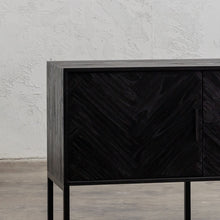 PRE ORDER | MAXIM PARQUETRY HERRINGBONE SIDEBOARD CONSOLE  |  BLACK  |  CLOSE UP