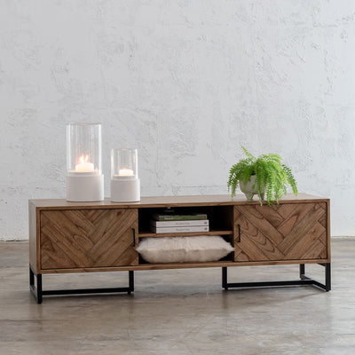 MAXIM PARQUET HERRINGBONE TIMBER TV ENTERTAINMENT UNIT  |  MID CENTURY TIMBER FURNITURE COLLECTION