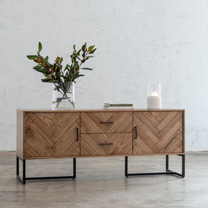 MAXIM PARQUET HERRINGBONE TIMBER SIDEBOARD CONSOLE  |  MID CENTURY TIMBER FURNITURE COLLECTION