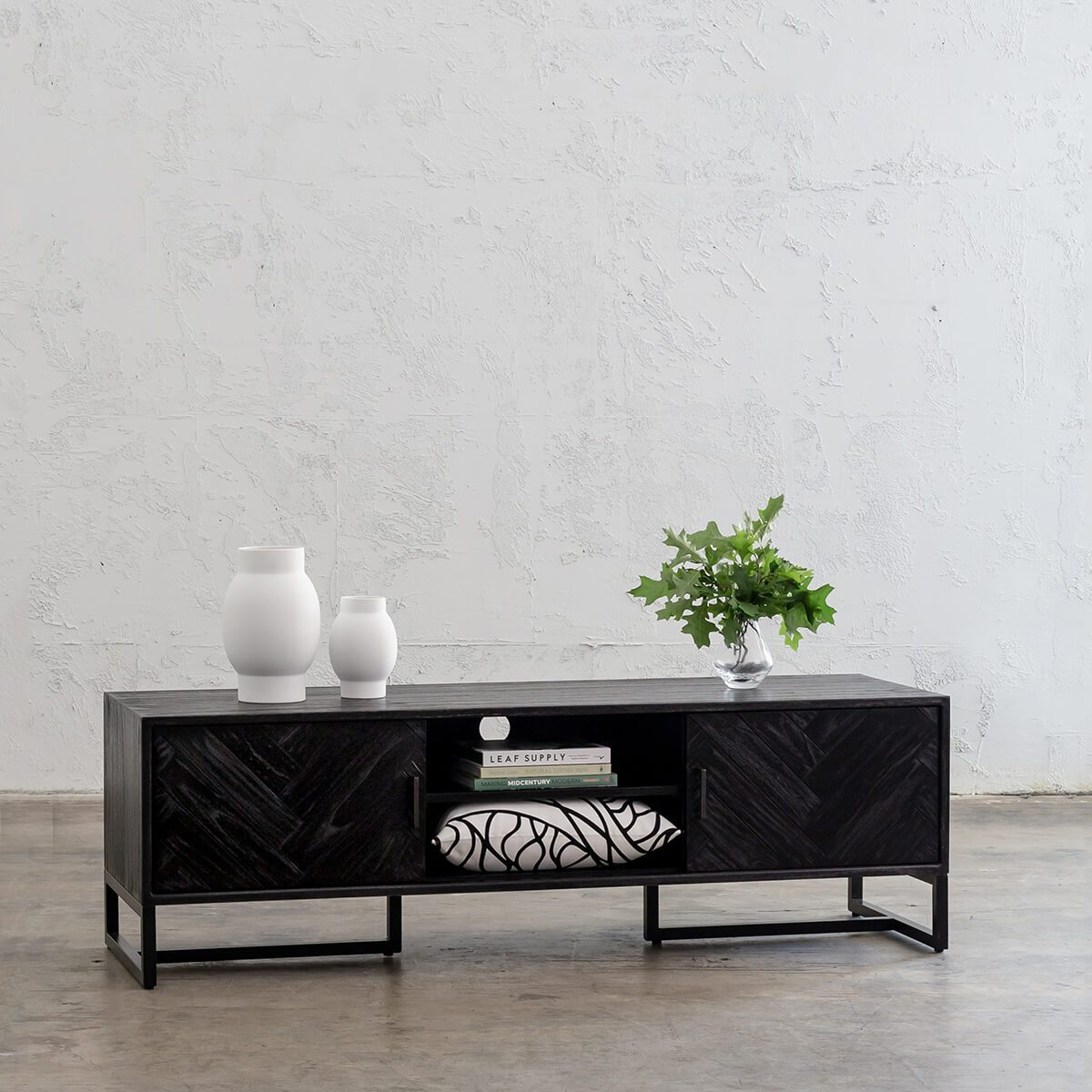 MAXIM PARQUETRY HERRINGBONE ENTERTAINMENT UNIT  |  BLACK TV UNIT  |  LOUNGE SIDEBOARD