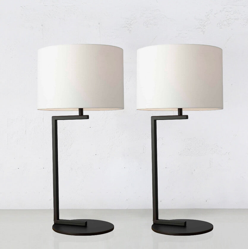 ALESSIA SATIN BLACK TABLE LAMP WITH WHITE SHADE | BUNDLE x 2