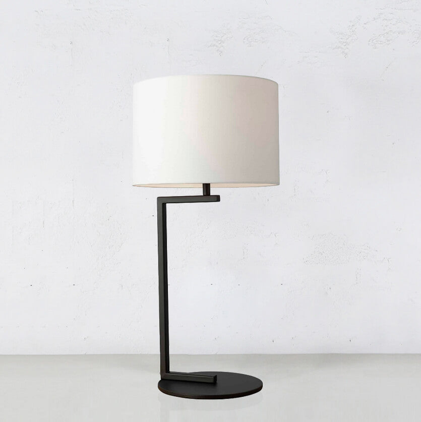 ALESSIA SATIN BLACK TABLE LAMP WITH WHITE SHADE