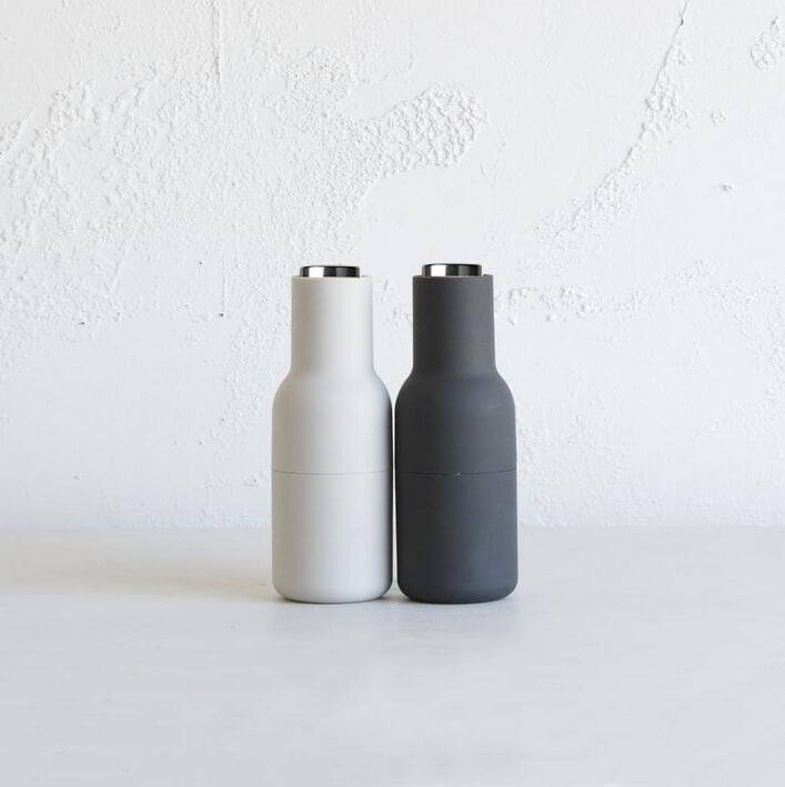 NORM ARCHITECTS MENU BOTTLE GRINDER 2-PACK  |  ASH & CARBON  |  STEEL TOP