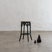 NEWFIELD BAR STOOL  |  BLACK with NATURAL RATTAN SEAT  |  CAFE BAR STOOL WITH MARBLE PEARS