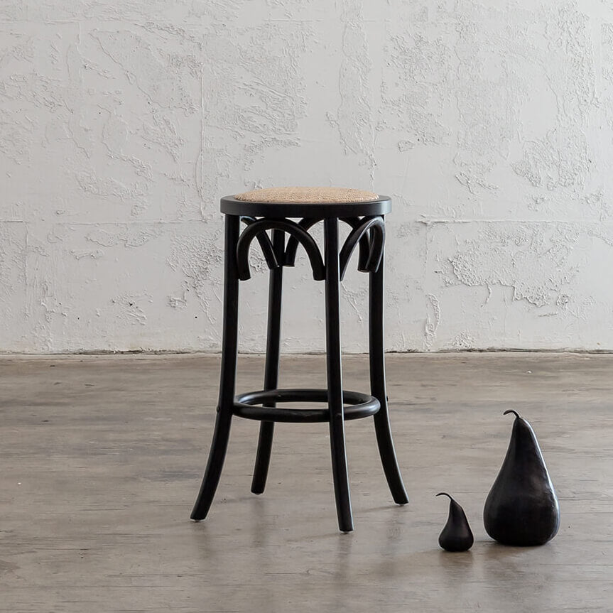 NEWFIELD BAR STOOL  |  BLACK with NATURAL RATTAN SEAT  |  CAFE BAR STOOL STYLED