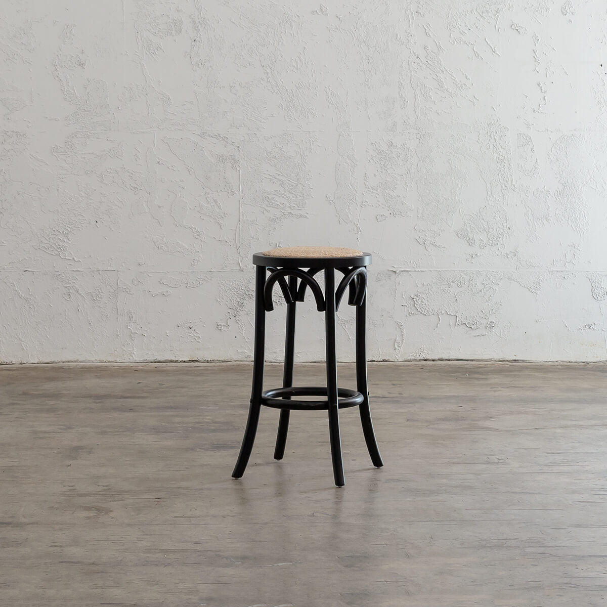 NEWFIELD BAR STOOL  BUNDLE  |  BLACK + NATURAL RATTAN SEAT