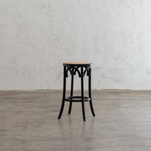 NEWFIELD BAR STOOL  |  BLACK with NATURAL RATTAN SEAT  |  CAFE BAR STOOL
