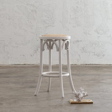 NEWFIELD BAR STOOL  |  WHITE with NATURAL RATTAN SEAT  |  CAFE BAR STOOL