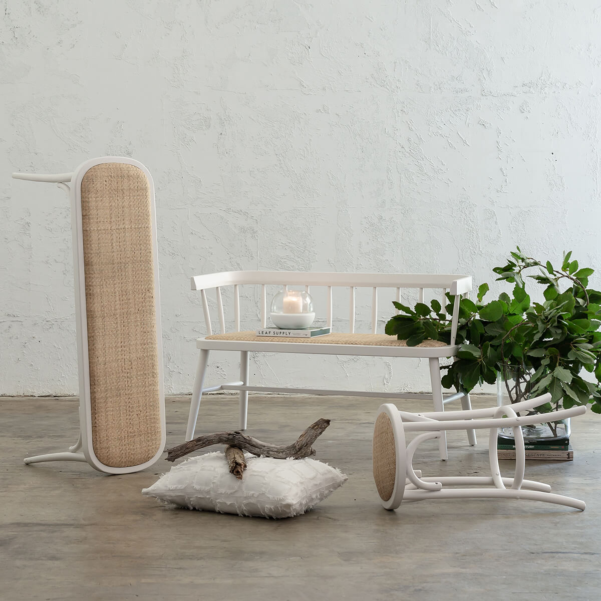 PRE ORDER | NEWFIELD BAR STOOL BUNDLE  |  WHITE + NATURAL RATTAN SEAT