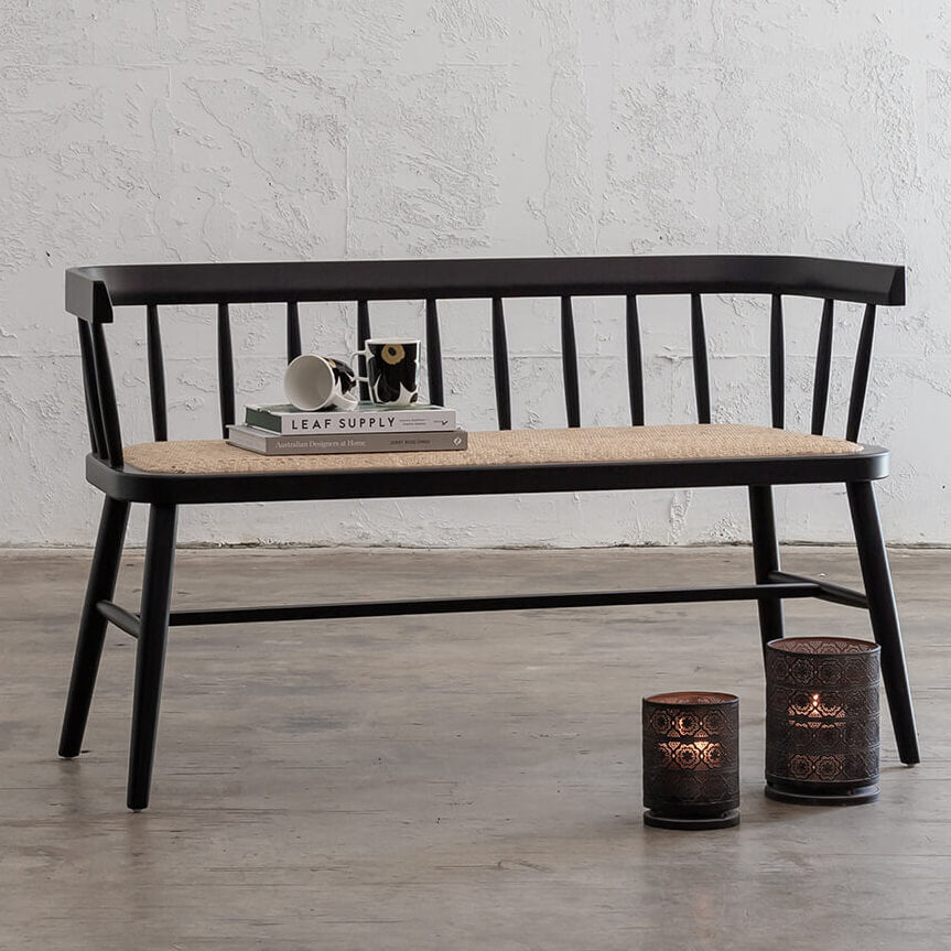 NEWFIELD SLATTED BACK BENCH SEAT  |  BLACK with NATURAL RATTAN SEAT  |  CAFE BENCH CHAIR